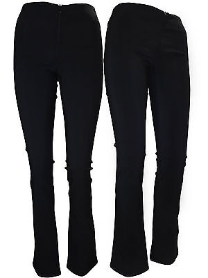Girls Women stretch trousers invisible zip office school black bootcut bootleg