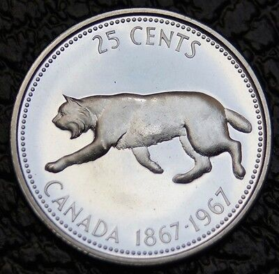 CANADA 1967 GEM - LYNX Cat 25 Cent Quarter - Beautiful Silver Coin - High Grade