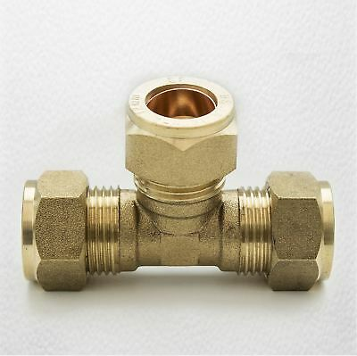 TRADE PACK 2 x FtD 12mm BRASS Equal Compression Tee fitting