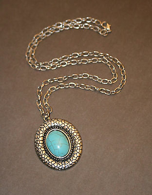 25 inch Chain Handmade Teal Turquoise Antique Silver Victorian Pendant Necklace