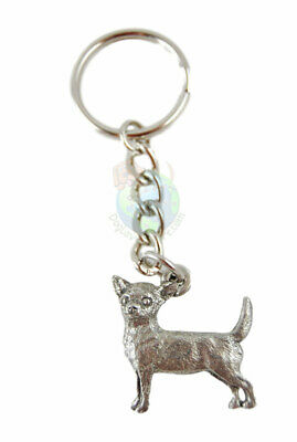 Chihuahua Keychain Fine Pewter Silver Key Chain Ring Smooth