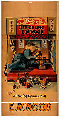A0 Reprint of Vintage Poster: 1800s Theatre Flyer Jee Chung Ew Wood Opium Theme