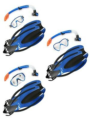 TBF Mask Snorkel OPEN HEEL Diving Fins 3PC Silicone Set Blue