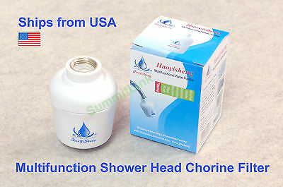Bathroom In-Line Shower Head Filter Water Softener Purifier Chlorine Remover