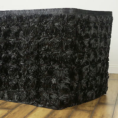 "21 feet x 29"" BLACK Satin Roses Banquet Table Skirt with velcro - 252"" x 29"""