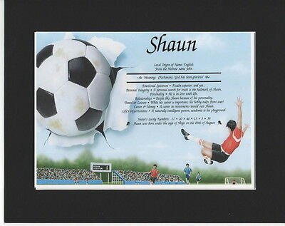 Mounted Meaning of Name Print -  Football  Design