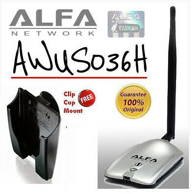 Alfa AWUS036H Wireless Adapter + Mount +Clip