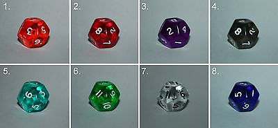 Würfel-Dice-Gem W12-Tranparent-Rollenspiel-Lifecounter-Tabletop-RPG-d20-New-Neu