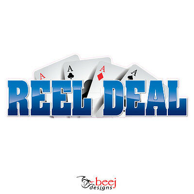 Reel Deal Blue sticker  900x320mm - Fishing Boat tackle Ace Cards decal