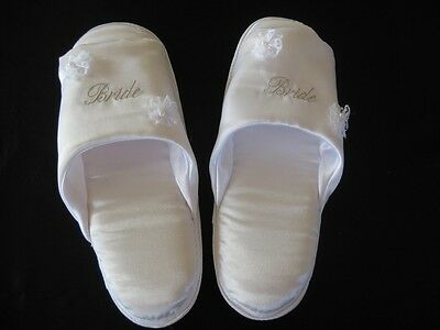 White Satin  Silver Embroidered Bride Slippers