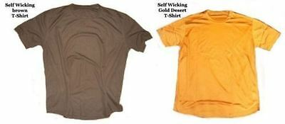 British Army Self Wicking T-Shirt 2 Pack - Brown And Gold - Various Sizes - Used