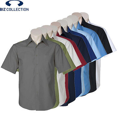 NEW Biz Collection MENS COTTON METRO SHORT SLEEVE WORK SHIRT ALL SIZES ALL COLOU