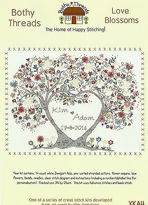 BOTHY THREADS LOVE BLOSSOMS WEDDING SAMPLER COUNTED CROSS STITCH KIT 34x26cm NEW