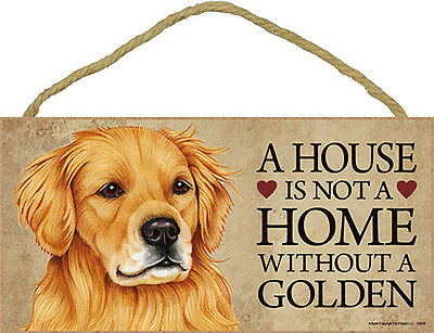 Golden Retriever Wood Dog Sign Wall Plaque Photo Display A House Is Not A Hom...