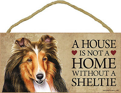 Sheltie Wood Dog Sign Wall Plaque 5 x 10 + Bonus Coaster