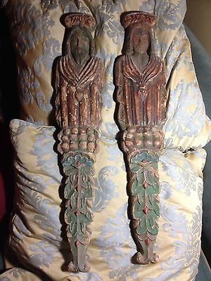 Pair Of Antique Wall Carvings King And Queen