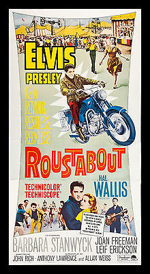 ROUSTABOUT CineMasterpieces ORIGINAL ELVIS PRESLEY BIKER MOTORCYCLE MOVIE POSTER