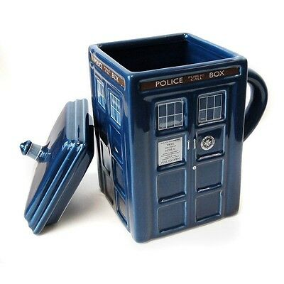 Doctor Who Ceramic Tardis Mug with Removable Lid   Dr.Who 10th 11th
