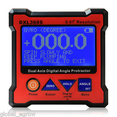 DXL360S Digital LCD Protractor Inclinometer SingleDual Axis Level Box 0.01° USA