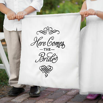 Here Comes the Bride Banner White Wedding Flower Girl Ceremony Sign