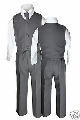 Baby Boys Toddler Wedding Formal Party Vest Set Dark  Gray Grey Suits S-14