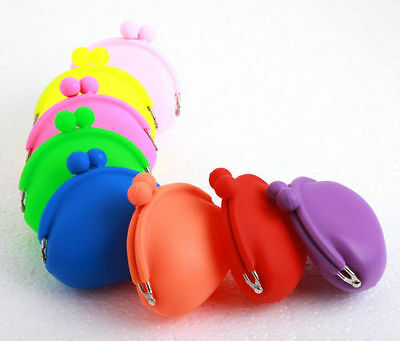 WHOLESALE JOB LOT 12 x SMALL WOMENS GIRLS NEON RUBBER SILICONE COIN PURSE CASE