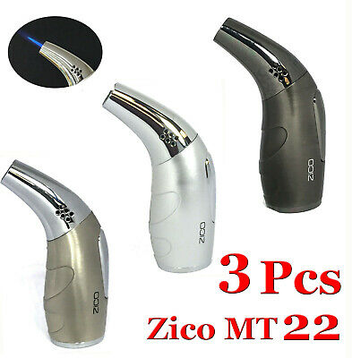 "4.5"" Zico (Mt-22) Ergo Refillable Butane Torch Lighter - 3 Pcs"