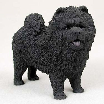 Chow Chow Figurine Hand Painted Statue Black