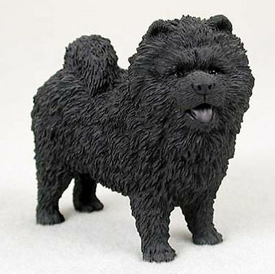 Chow Chow Hand Painted Dog Figurine Statue Black