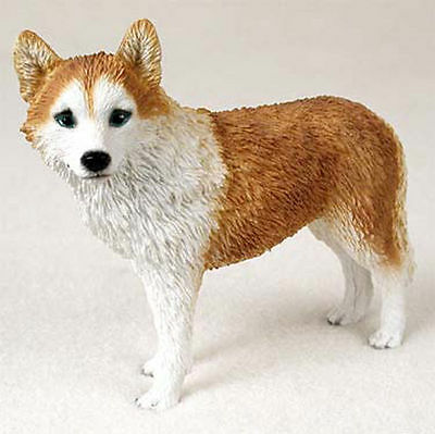 Husky Hand Painted Dog Figurine Statue Red & White