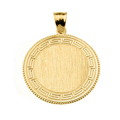 Greek Key Solid Yellow Gold Engravable Round Pendant