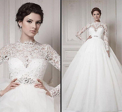 New Lace White/Ivory Wedding Dress Sweetheart Bridal Ball Gown Size Custom