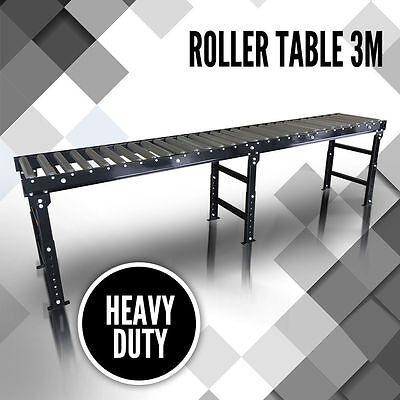 Roller Top Table 3 Meter, Adjustable Leg  Work Support Saw Conveyor Extra Long
