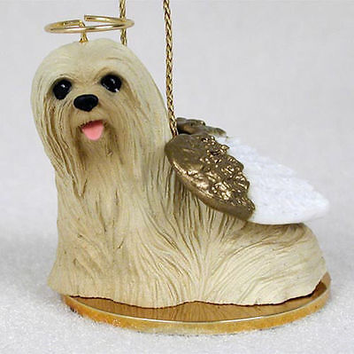 Lhasa Apso Ornament Angel Figurine Hand Painted Blonde