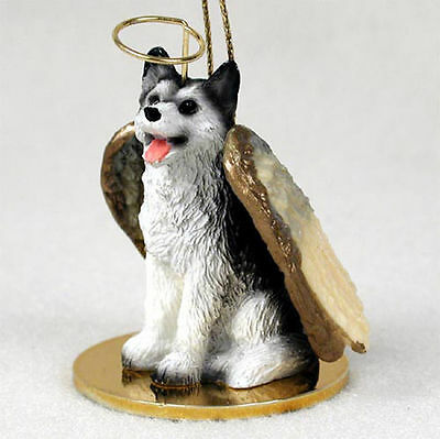 Husky Ornament Angel Figurine Hand Painted Black/White Brown Eye