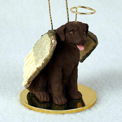 Chocolate Labrador Dog Figurine Ornament Angel Statue Hand Painted