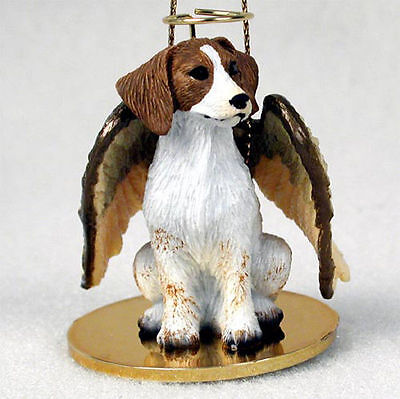 Brittany Dog Figurine Angel Statue Hand Painted Brown & White