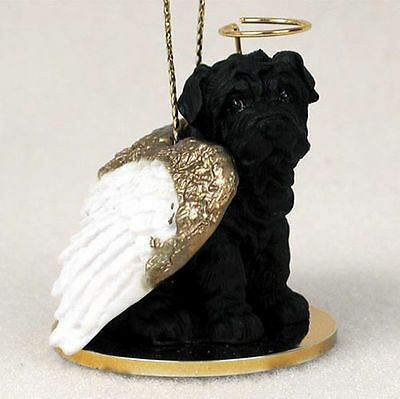 Shar Pei Ornament Angel Figurine Hand Painted Black