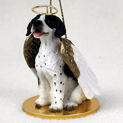 Pointer Dog Figurine Angel Statue Hand Painted Black/White