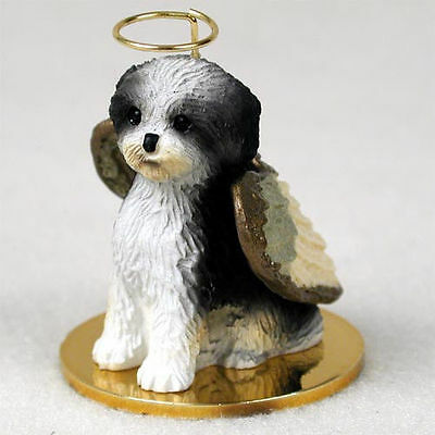 Shih Tzu Ornament Angel Figurine Hand Painted Black/White Puppy