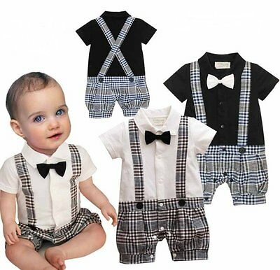 170277311a4 Baby Boy Wedding Christening Formal Tuxedo Suit Outfit Romper 0-18M NEWBORN