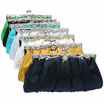 Navy Gold Ivory Silver Black Green Satin Crystal Clutch Bag Wedding Evening Prom