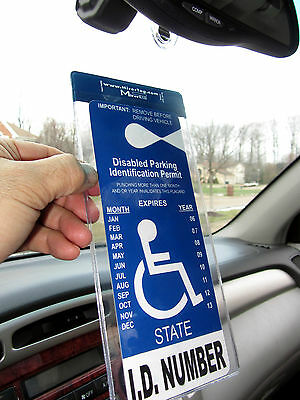 Handicap Tag/Placard/Card Holder & Protector. Sturdy Hook - ON & OFF in a Snap.