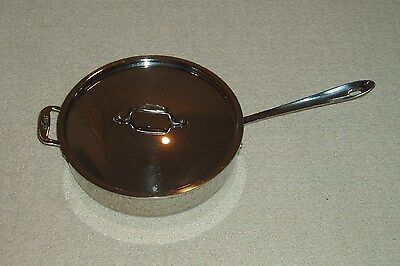 MINT All Clad Allclad Tri-Ply Stainless Steel 3 Quart Saute Pan w/ Lid USA Made