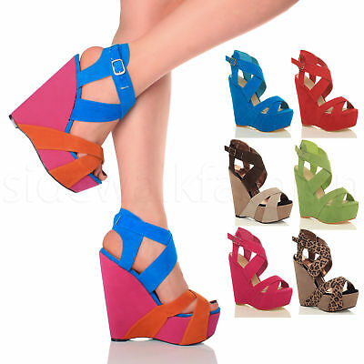 Womens ladies platform high wedge heel strappy buckle summer party sandals size