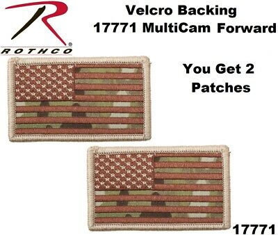 """(2) Hook Back Multicam OCP Forward Face Military American Flag Patch 17/8""""x31/4"""""""