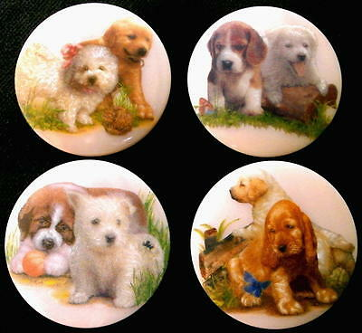 Collection of 4 Czech Glass Decal Buttons #D9 - DIFFERENT CUTE DOGGIES!!!!!