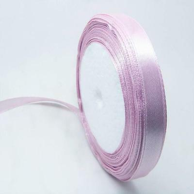1 of 12mm opaque lilac satin ribbon roll 25 yards-7731
