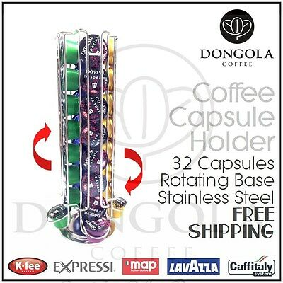 Rotating 32 Capsule Coffee Pod Holder Stand Stainless Steel suit Expressi +