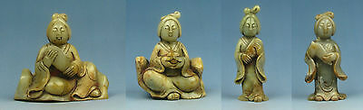 Chinese old jade carved 1 set 4 piece Tang Dy. fat music lady statue
